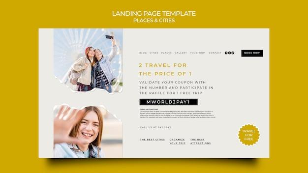 Landingpage für reisende städte und orte