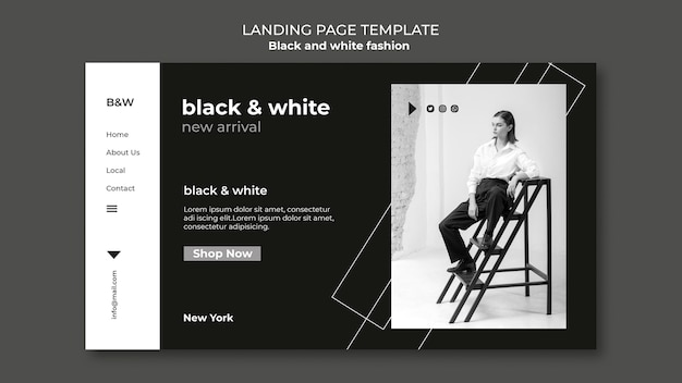 Landingpage für schwarz-weiß-mode