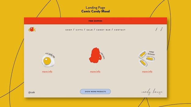 Landingpage für süßigkeiten im comic-stil