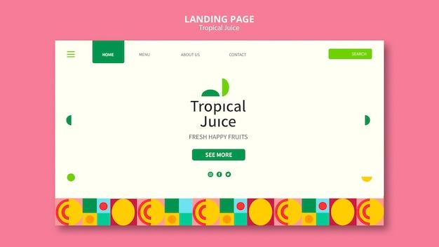 Landingpage für tropischen saft
