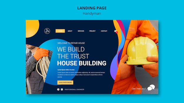 Landingpage für unternehmen, die handwerkerdienste anbieten