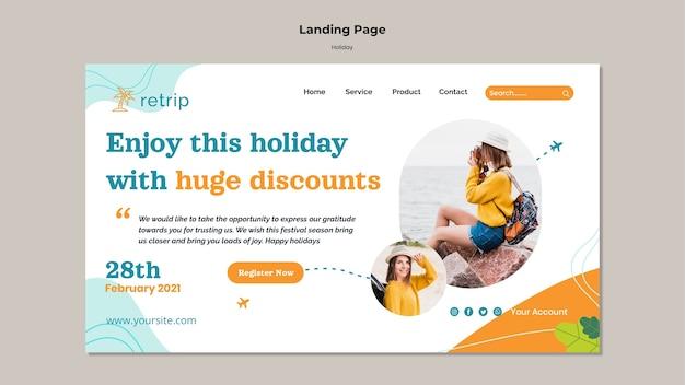 Landingpage für urlaubsrabatte