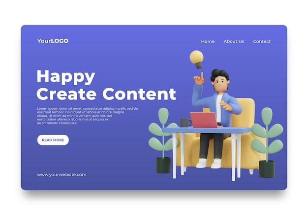Landingpage-männer denken an ideen für content-homepage premium psd