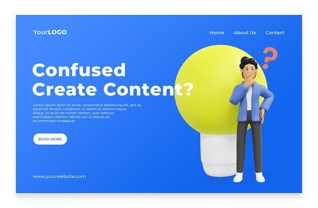 Landingpage-männer denken an ideen für content-startseite premium psd