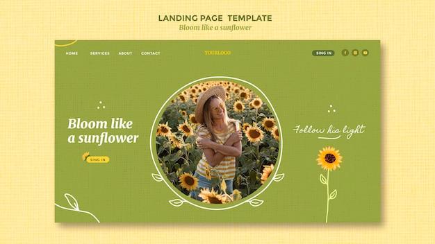 Landingpage mit sonnenblumen und frau