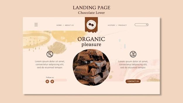Landingpage schokoladenliebhaber vorlage