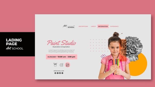 Landingpage-vorlage der kunstschule mit foto