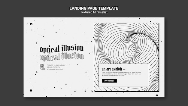 Landingpage-vorlage der optischen täuschungskunstausstellung