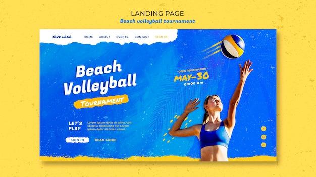 Landingpage-vorlage des beachvolleyball-konzepts