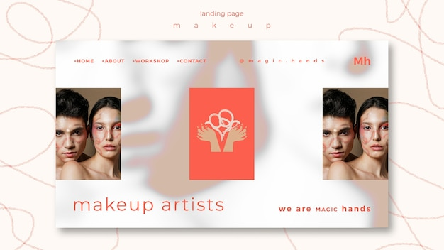Landingpage-vorlage des make-up-konzepts