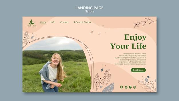Landingpage-vorlage fühlen die natur