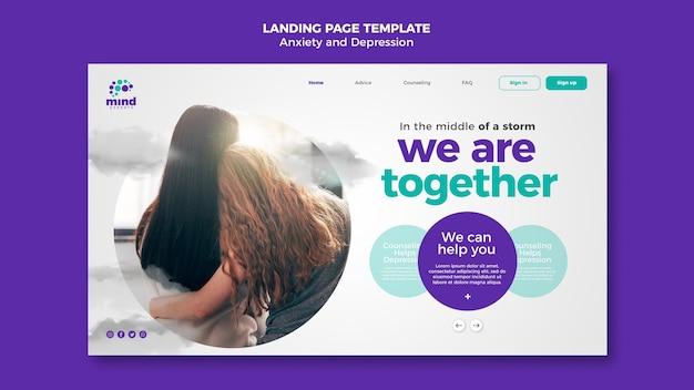 Landingpage-vorlage für angstzustände und depressionen