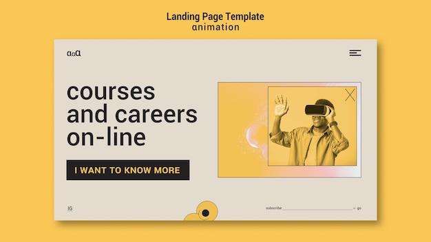 Landingpage-vorlage für animationskurse