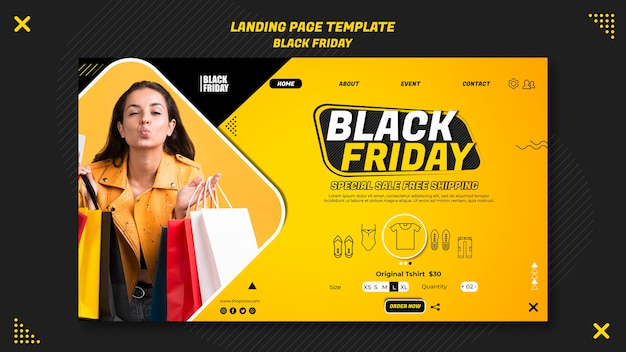 Landingpage-vorlage für black friday clearance