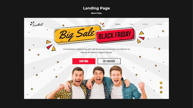 Landingpage-vorlage für black friday sale