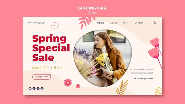 Landingpage-vorlage für blumenladen mit frühlingsblumen