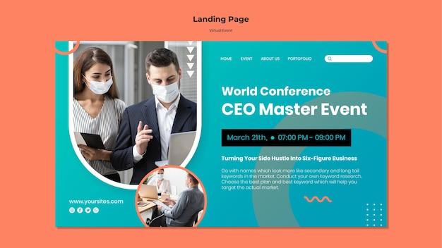 Landingpage-vorlage für ceo master event konferenz