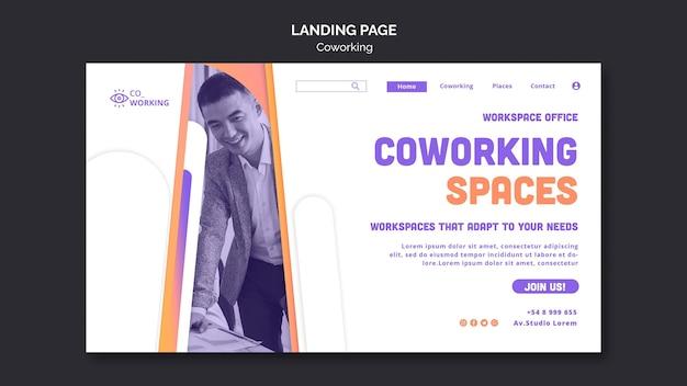 Landingpage-vorlage für coworking space
