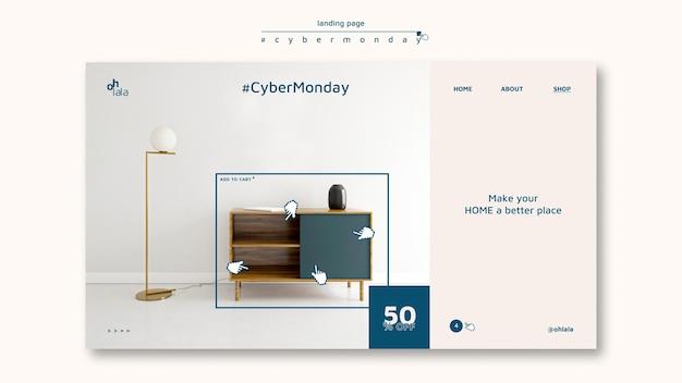 Landingpage-vorlage für cyber-montag-shopping