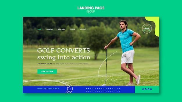 Landingpage-vorlage für das golfkonzept