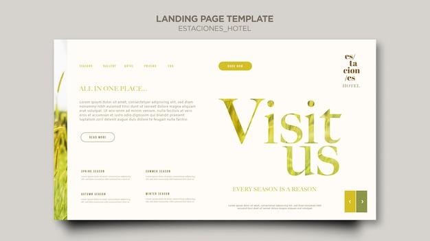 Landingpage-vorlage für das hotelgeschäft