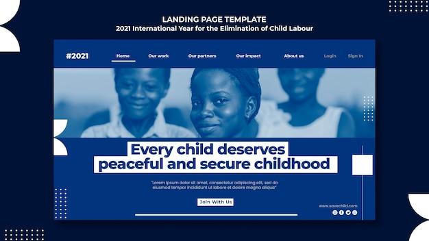 Landingpage-vorlage für das internationale jahr zur beseitigung der kinderarbeit