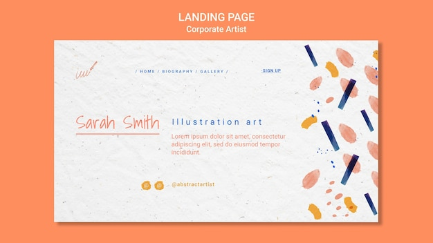Landingpage-vorlage für das konzept des unternehmenskünstlers
