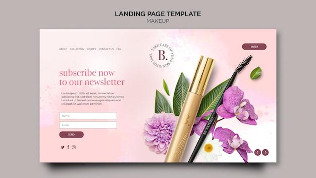 Landingpage-vorlage für das make-up-konzept