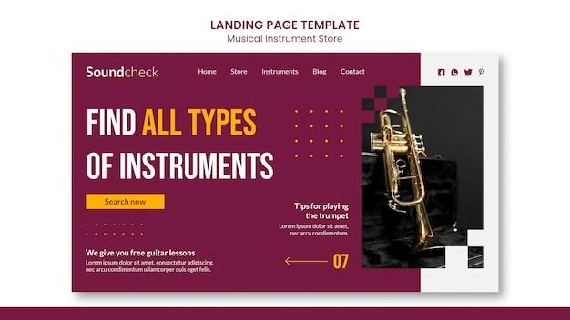 Landingpage-vorlage für das musikinstrument-konzept