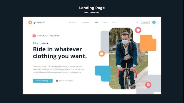 Landingpage-vorlage für das pendeln des fahrrads mit dem männlichen passagier