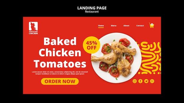 Landingpage-vorlage für das restaurantkonzept
