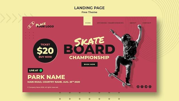 Landingpage-vorlage für das skateboard-konzept