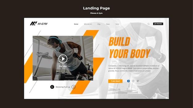 Landingpage-vorlage für das training im fitnessstudio während der pandemie