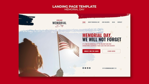 Landingpage-vorlage für den gedenktag