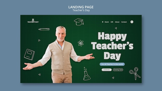 Landingpage-vorlage für den lehrertag