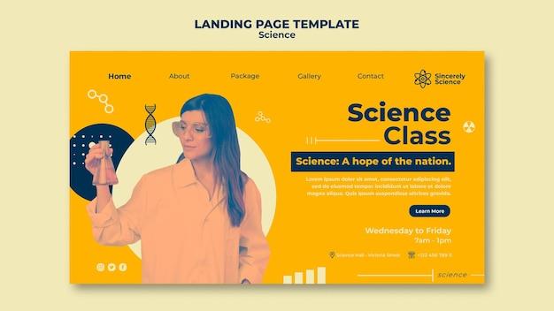 Landingpage-vorlage für den naturwissenschaftlichen unterricht