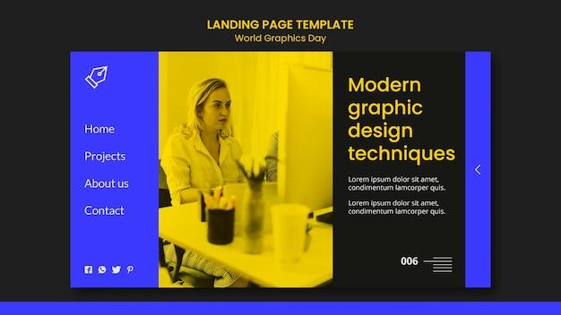 Landingpage-vorlage für den weltgrafiktag