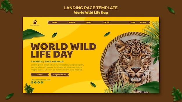 Landingpage-vorlage für den welttag der wildtiere mit tier