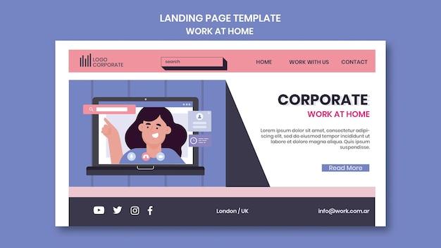 Landingpage-vorlage für die arbeit von zu hause aus