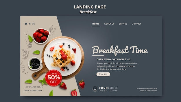 Landingpage-vorlage für die frühstückszeit