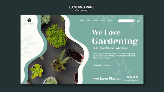 Landingpage-vorlage für die gartenarbeit