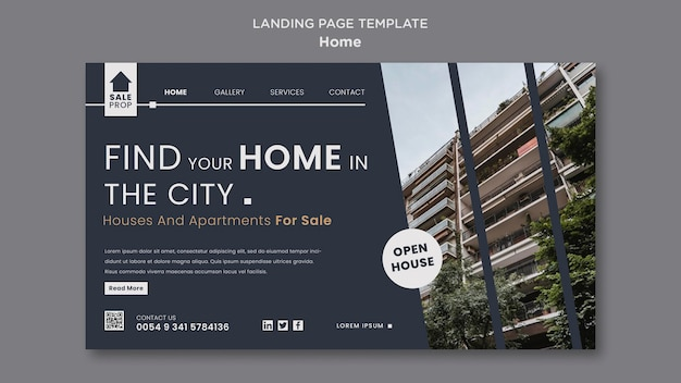 Landingpage-vorlage für die suche nach dem perfekten zuhause