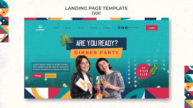 Landingpage-vorlage für dinnerparty