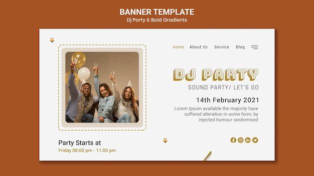 Landingpage-vorlage für dj-party mit personen und luftballons