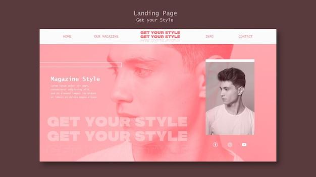 Landingpage-vorlage für ein magazin im elektronischen stil