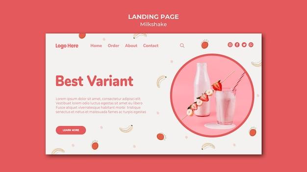 Landingpage-vorlage für erdbeermilchshake