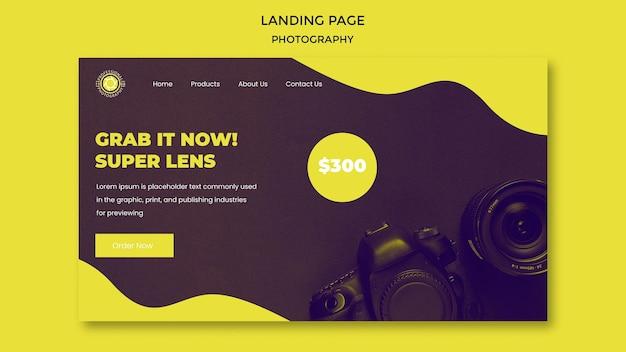 Landingpage-vorlage für fotografie-anzeigen