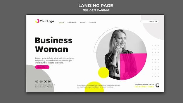 Landingpage-vorlage für geschäftsfrau