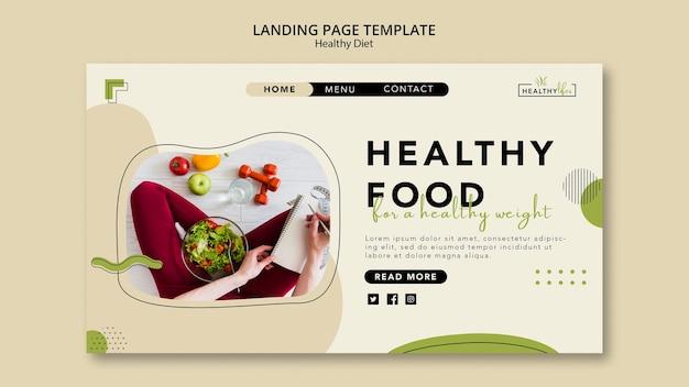 Landingpage-vorlage für gesunde ernährung mit gemüse