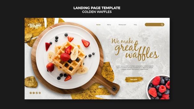 Landingpage-vorlage für goldene waffeln